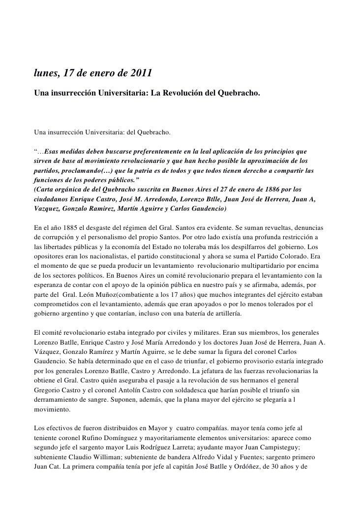 lunes, 17 de enero de 2011Una insurrección Universitaria: La Revolución del Quebracho.Una insurrección Universitaria: del ...
