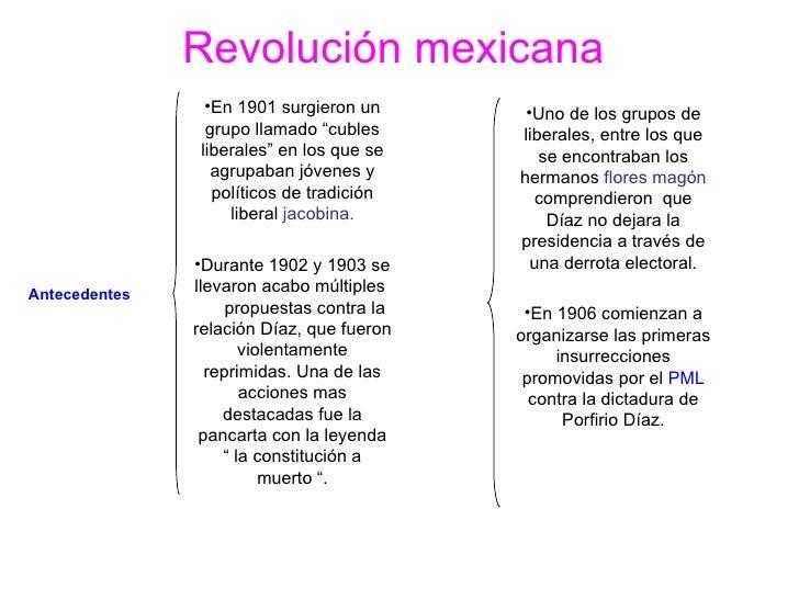"""Revolución mexicana   Antecedentes   <ul><li>En 1901 surgieron un grupo llamado """"cubles liberales"""" en los que se agrupaban..."""