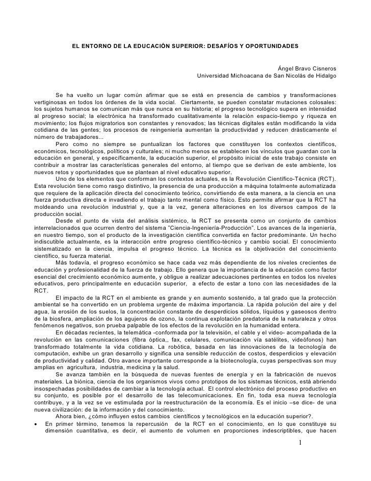 EL ENTORNO DE LA EDUCACIÓN SUPERIOR: DESAFÍOS Y OPORTUNIDADES                                                             ...
