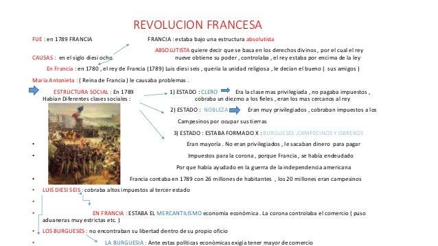 REVOLUCION FRANCESA FUE : en 1789 FRANCIA FRANCIA : estaba bajo una estructura absolutista ABSOLUTISTA quiere decir que se...