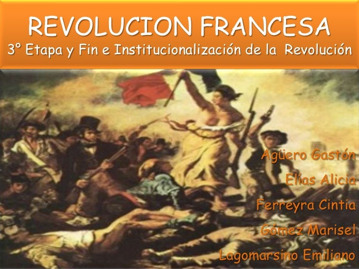 REVOLUCION FRANCESA3° Etapa y Fin e Institucionalización de la Revolución                                       Agüero Gas...