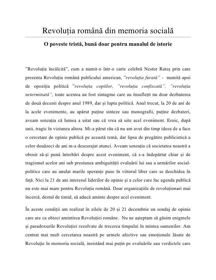 """Revoluția română din memoria socială         O poveste tristă, bună doar pentru manalul de istorie""""Revoluția încâlcită"""", c..."""