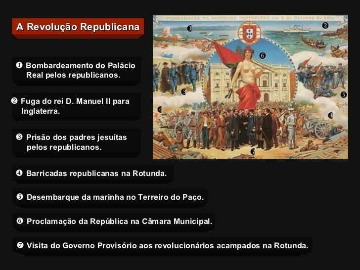 A Revolução Republicana        Bombardeamento do Palácio    Real pelos republicanos.    Fuga do rei D. Manuel II par...