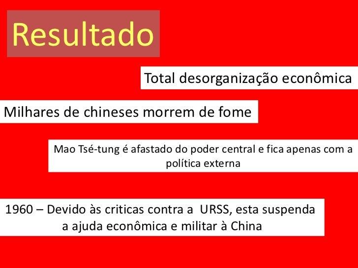 Resultado                          Total desorganização econômicaMilhares de chineses morrem de fome        Mao Tsé-tung é...
