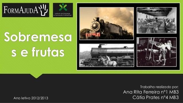 Instituto do Emprego e Formação Profissional  Sobremesa s e frutas Trabalho realizado por:  Ano letivo 2012/2013  Ana Rita...