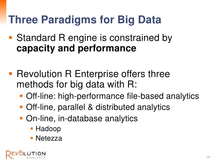 Three Paradigms for Big Data                 Revolution Confidential Standard R engine is constrained by  capacity and pe...