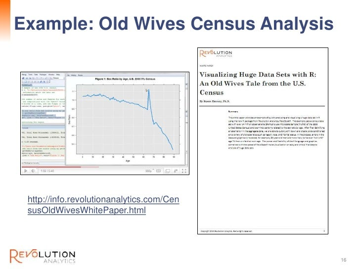Example: Old Wives Census Analysis         Revolution Confidential http://info.revolutionanalytics.com/Cen susOldWivesWhit...