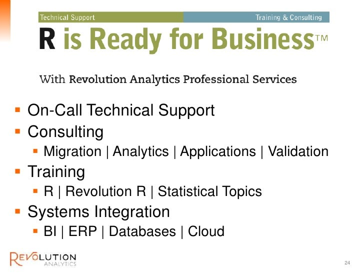 Revolution Confidential On-Call Technical Support Consulting   Migration   Analytics   Applications   Validation Train...
