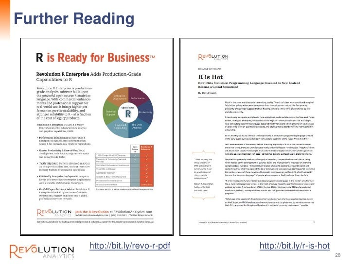 Further Reading                              Revolution Confidential         http://bit.ly/revo-r-pdf   http://bit.ly/r-is...