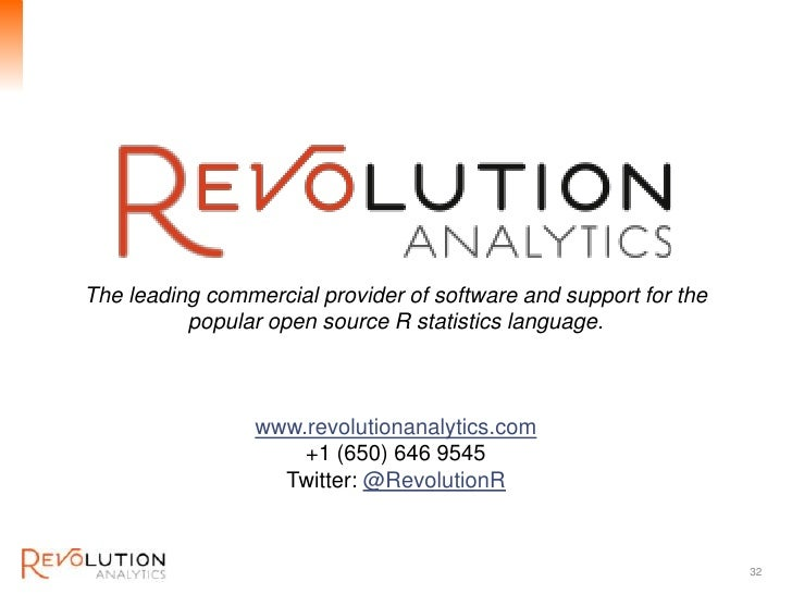 Revolution ConfidentialThe leading commercial provider of software and support for the          popular open source R stat...