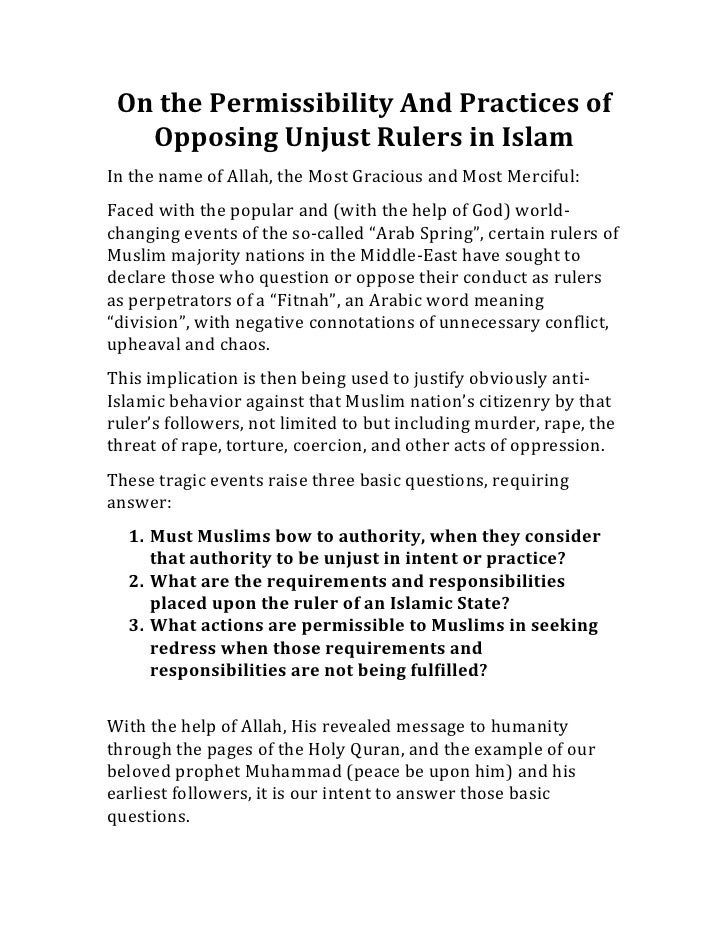 On the Permissibility And Practices of    Opposing Unjust Rulers in Islam In the name of All...