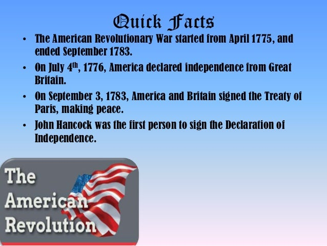 Facts about the American Revolution