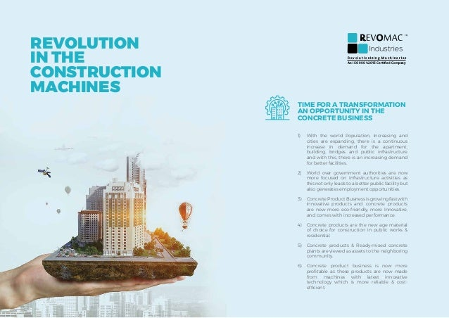 TIME FOR A TRANSFORMATION AN OPPORTUNITY IN THE CONCRETE BUSINESS 1) With the world Population, Increasing and cities are...