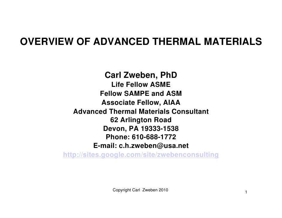 Overview of Advanced Thermal Materials