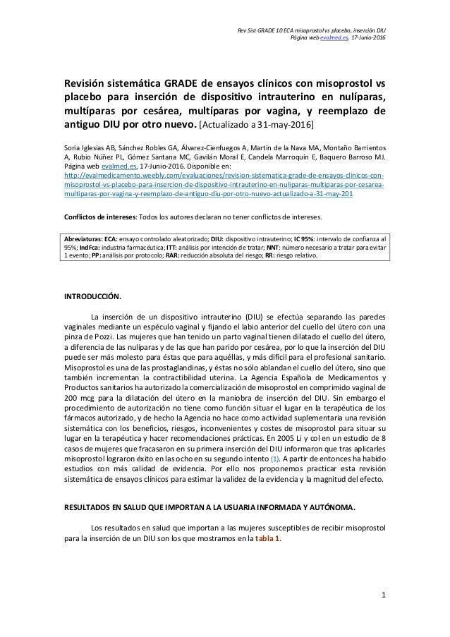 Rev Sist GRADE 10 ECA misoprostol vs placebo, inserción DIU Página web evalmed.es, 17-Junio-2016 Revisión sistemática GRAD...