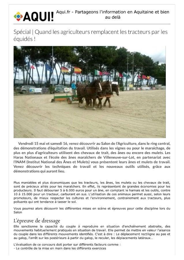 Revu de presse du salon de l'agriculture 2015 via aqui.fr