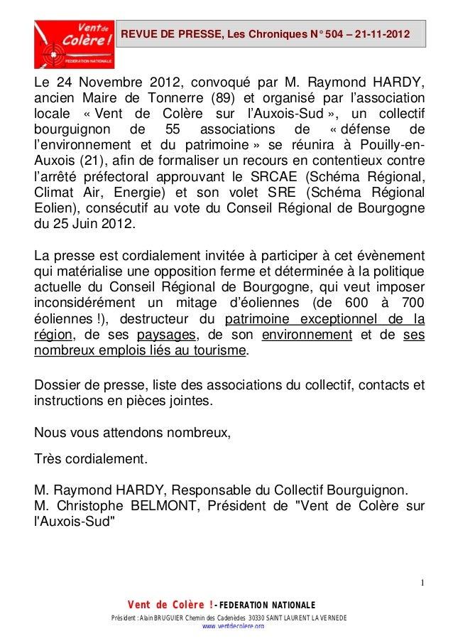 REVUE DE PRESSE, Les Chroniques N° 504 – 21-11-2012Le 24 Novembre 2012, convoqué par M. Raymond HARDY,ancien Maire de Tonn...