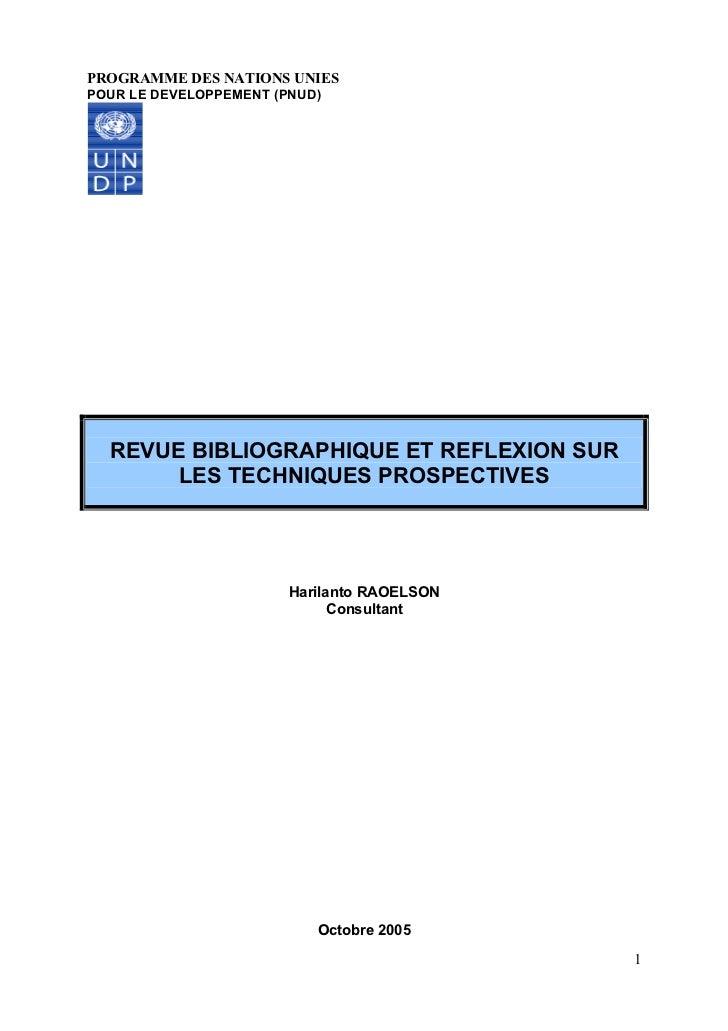 PROGRAMME DES NATIONS UNIESPOUR LE DEVELOPPEMENT (PNUD)  REVUE BIBLIOGRAPHIQUE ET REFLEXION SUR       LES TECHNIQUES PROSP...