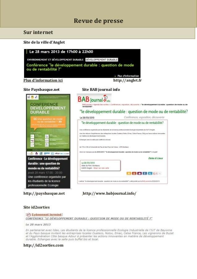 Revue de presseSur internetSite de la ville d'AngletPlus d'information ici                         http://anglet.frSite Pa...