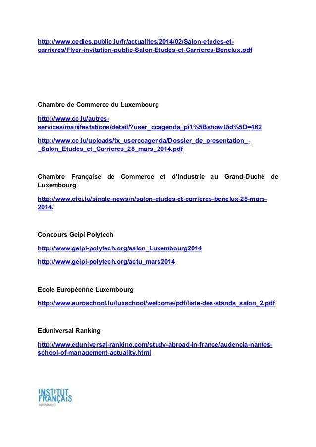 Revue de presse salon etudes et carri res benelux 2014 - Salon de l emploi luxembourg ...