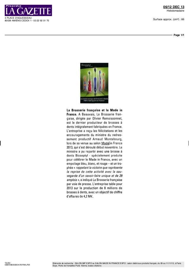 Mif expo revue de presse 2013 presse ecrite d p ches for Mif expo le salon du made in france 10 novembre