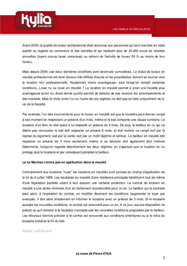 Revue de presse de la semaine 34 2012 - Statut de loueur en meuble non professionnel ...