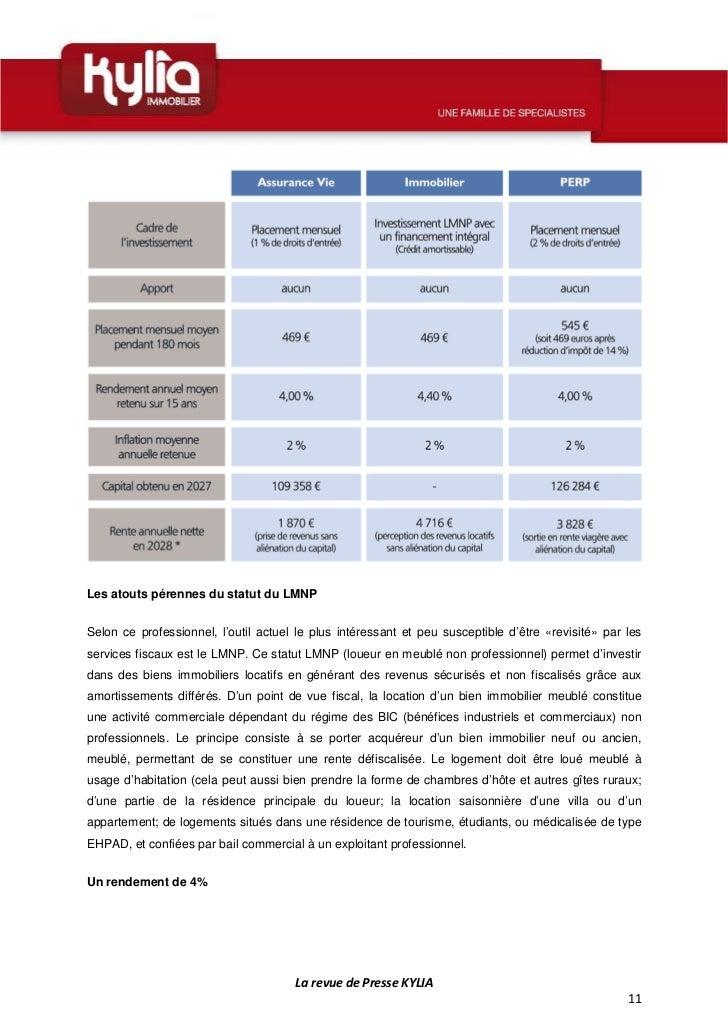 Revue de presse de la semaine 38 2012 - Regime fiscal location meublee non professionnel ...