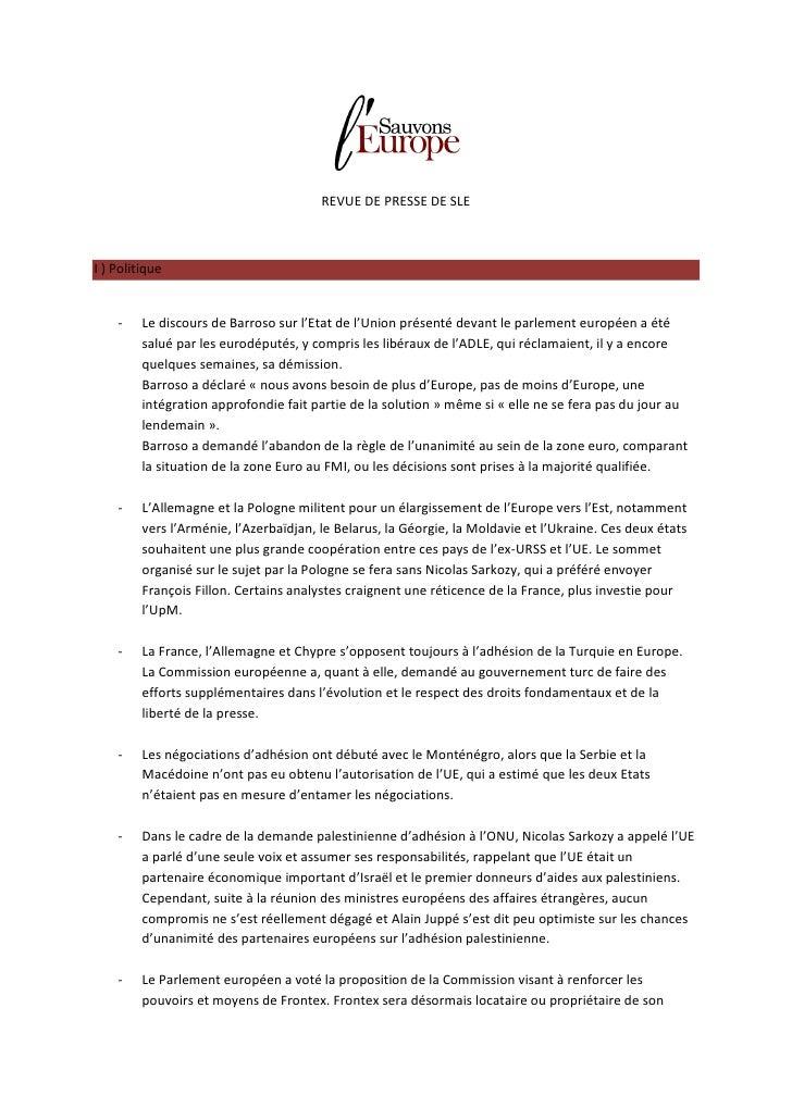 REVUE DE PRESSE DE SLEI ) Politique    -    Le discours de Barroso sur l'Etat de l'Union présenté devant le parlement euro...