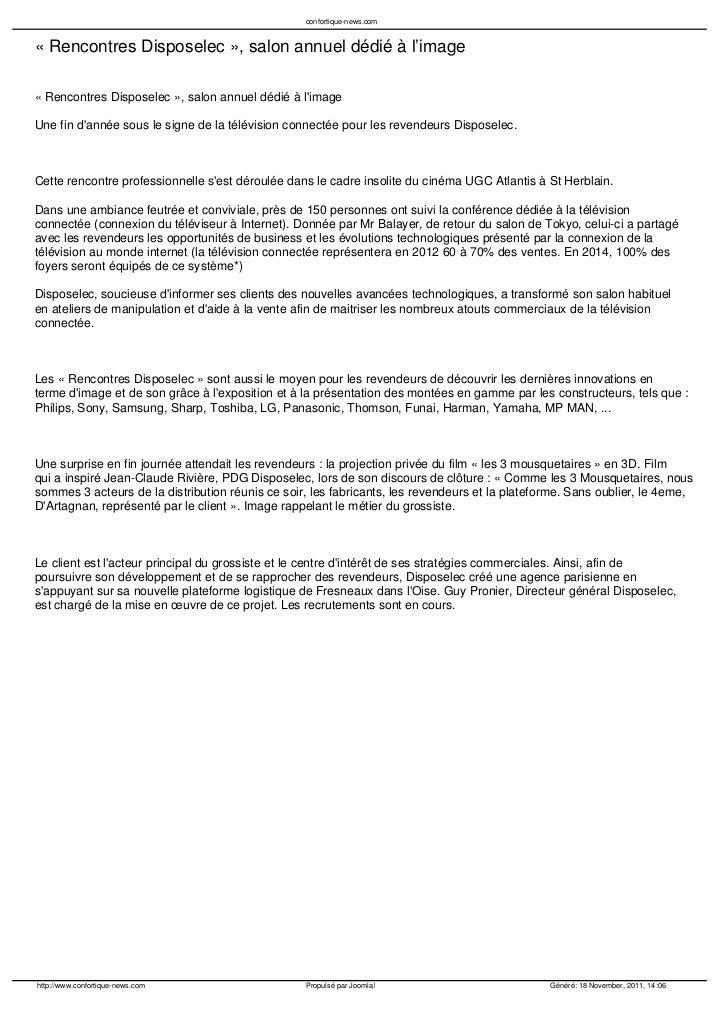 confortique-news.com« Rencontres Disposelec », salon annuel dédié à l'image« Rencontres Disposelec », salon annuel dédié à...