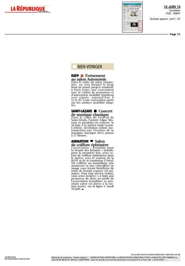 Revue De Presse Josephine Prend Le Metro 2014