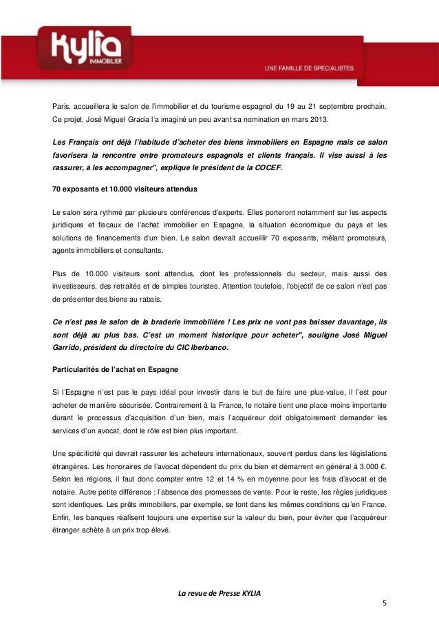Revue de presse kylia semaine du 7 au 13 juillet 2014 - Chambre de commerce espagnole en france ...