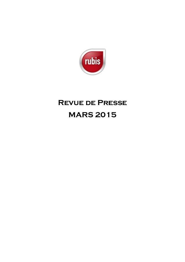 Revue de Presse MARS 2015