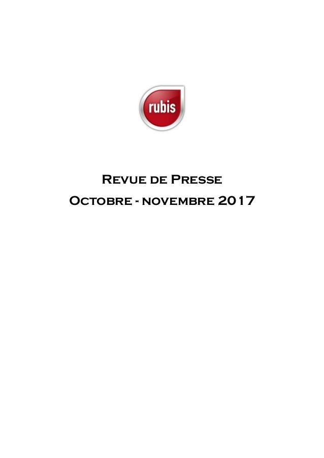 Revue de Presse Octobre - novembre 2017