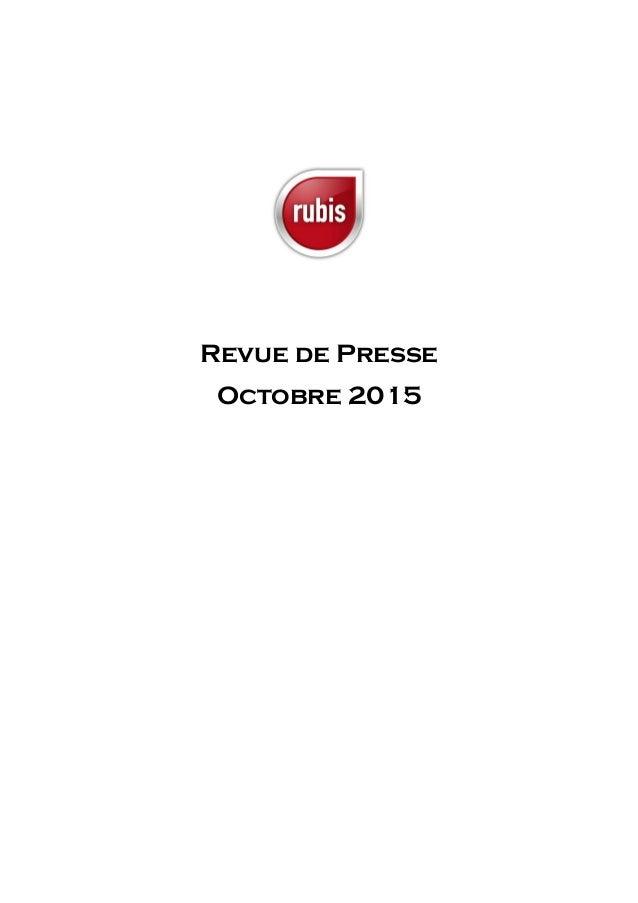 Revue de Presse Octobre 2015