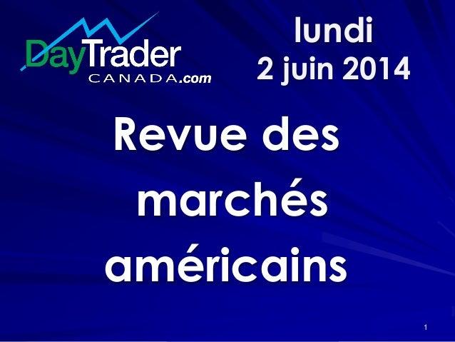 lundi 2 juin 2014 Revue des marchés américains 1