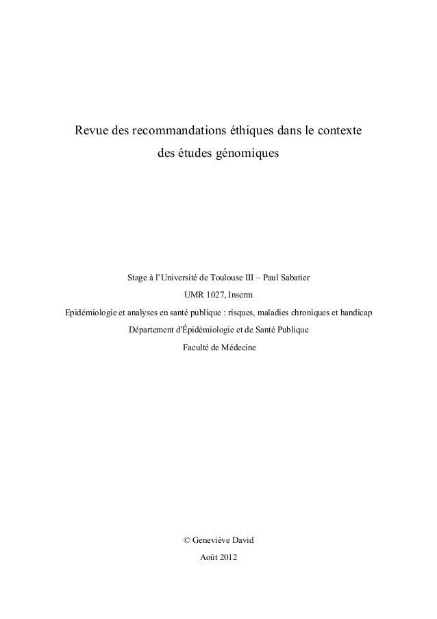 Revue des recommandations éthiques dans le contexte des études génomiques Stage à l'Université de Toulouse III – Paul Sa...