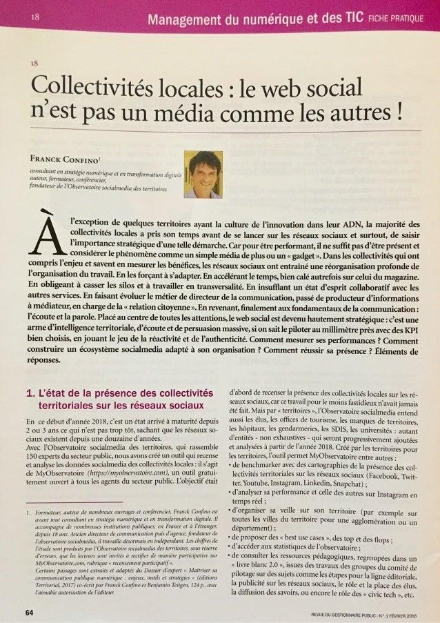 """[Revue du gestionnaire public] """"Collectivités locales : le web social n'est pas un média comme les autres"""""""