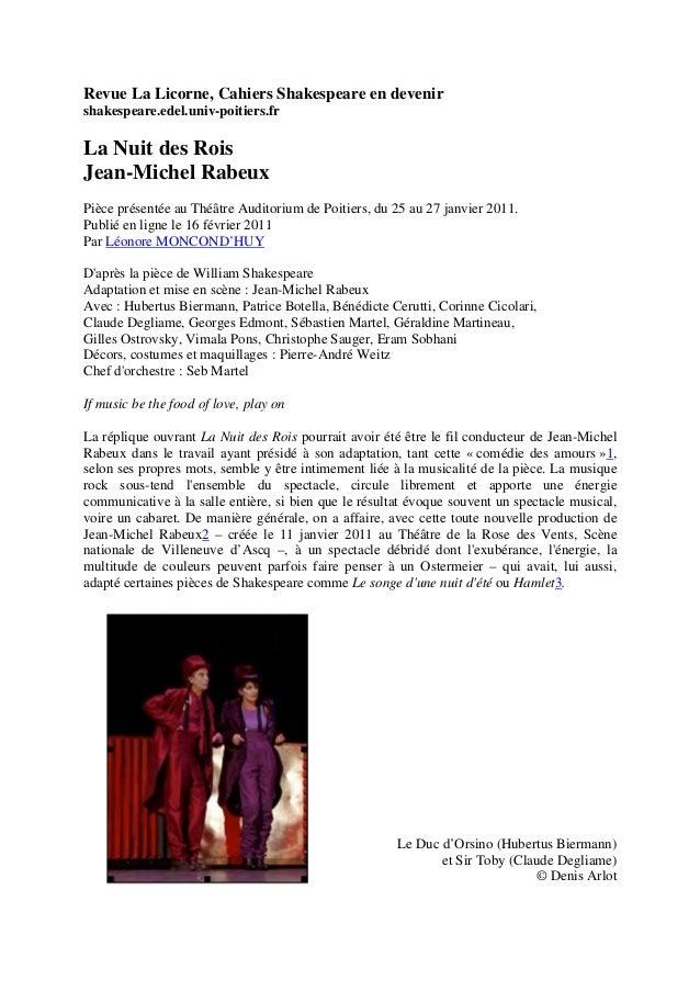 Revue La Licorne, Cahiers Shakespeare en devenir  shakespeare.edel.univ-poitiers.fr  La Nuit des Rois  Jean-Michel Rabeux ...