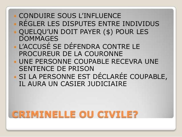    CONDUIRE SOUS L'INFLUENCE   RÉGLER LES DISPUTES ENTRE INDIVIDUS   QUELQU'UN DOIT PAYER ($) POUR LES    DOMMAGES   L...