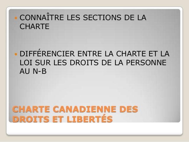    CONNAÎTRE LES SECTIONS DE LA    CHARTE   DIFFÉRENCIER ENTRE LA CHARTE ET LA    LOI SUR LES DROITS DE LA PERSONNE    A...