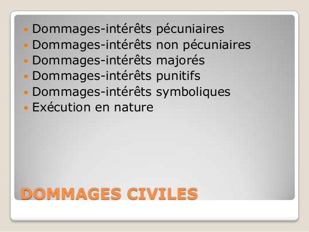    Dommages-intérêts pécuniaires   Dommages-intérêts non pécuniaires   Dommages-intérêts majorés   Dommages-intérêts p...