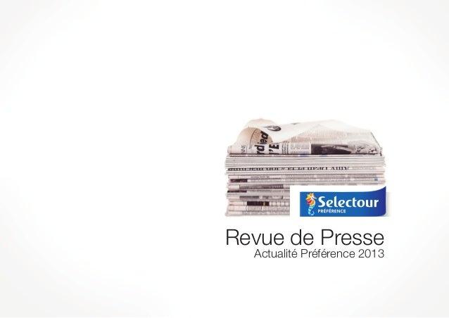 Revue de Presse  Actualité Préférence 2013
