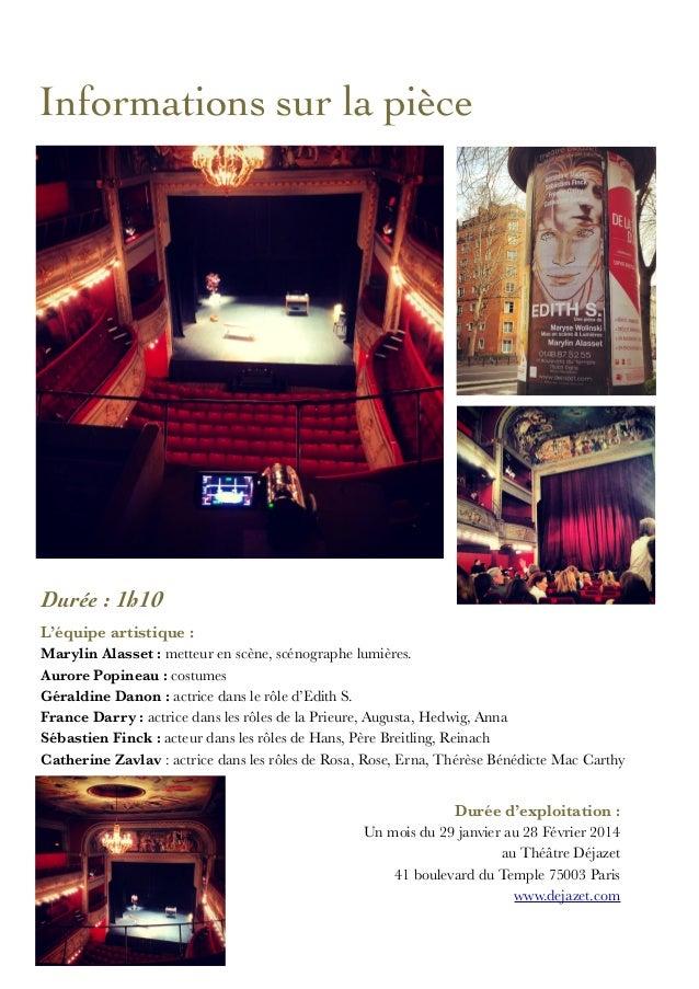 Revue presse de la pièce Edith S. Slide 2
