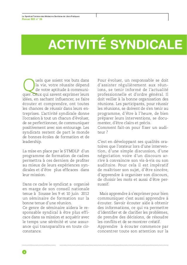 Le Syndicat Tunisien des Médecins Dentistes de Libre Pratiques63 °Revue ISD nﺣﺪﻭﺙ ﺫﻟﻚ ﺇﻻ ﺃﻧﻪ ﻳﻔﻀﻞ ﺃﻥ ﻻ ﺗﻌﺾ ﻋﻠﻰ ﺍﻷ...