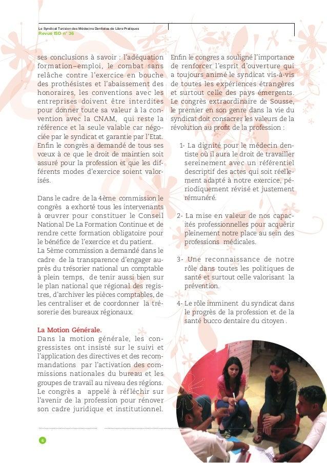 Le Syndicat Tunisien des Médecins Dentistes de Libre PratiquesRevue ISD n° 36                            ACTIVITÉ SYNDICAL...