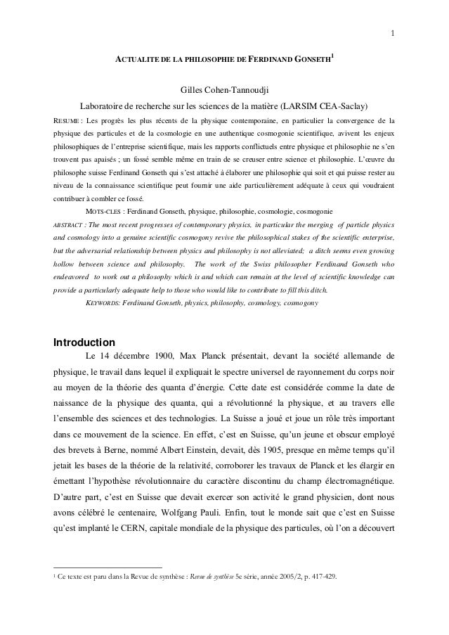 1 ACTUALITE DE LA PHILOSOPHIE DE FERDINAND GONSETH 1 Gilles Cohen-Tannoudji Laboratoire de recherche sur les sciences de l...