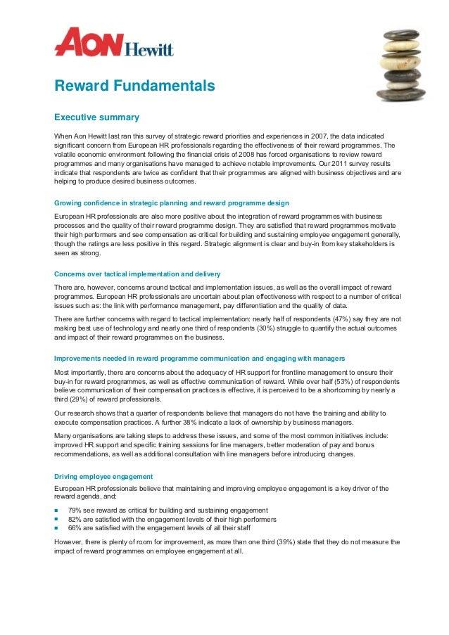 Reward FundamentalsExecutive summaryWhen Aon Hewitt last ran this survey of strategic reward priorities and experiences in...