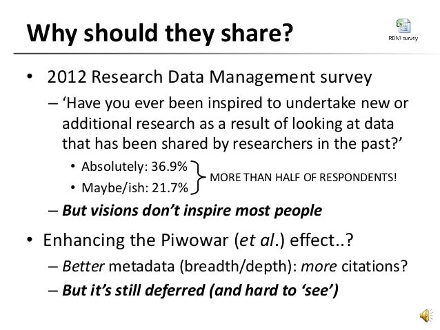 Why should they share? • 2012 Research Data Management survey – 'Have you ever been inspired to undertake new or additiona...