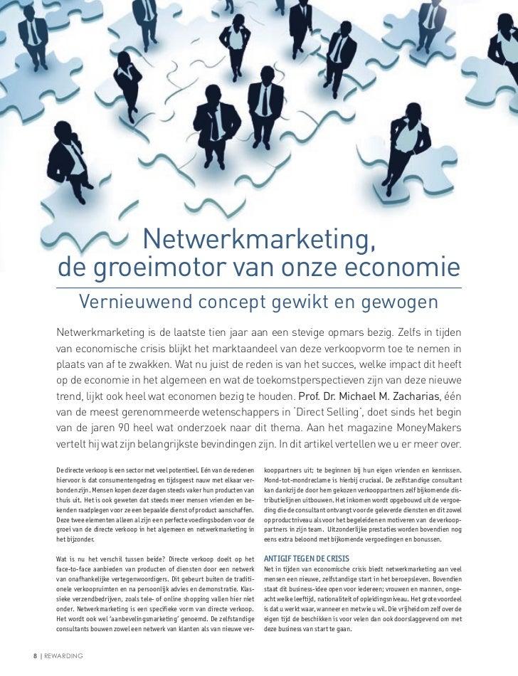 Netwerkmarketing,     de groeimotor van onze economie             Vernieuwend concept gewikt en gewogen     Netwerkmarketi...