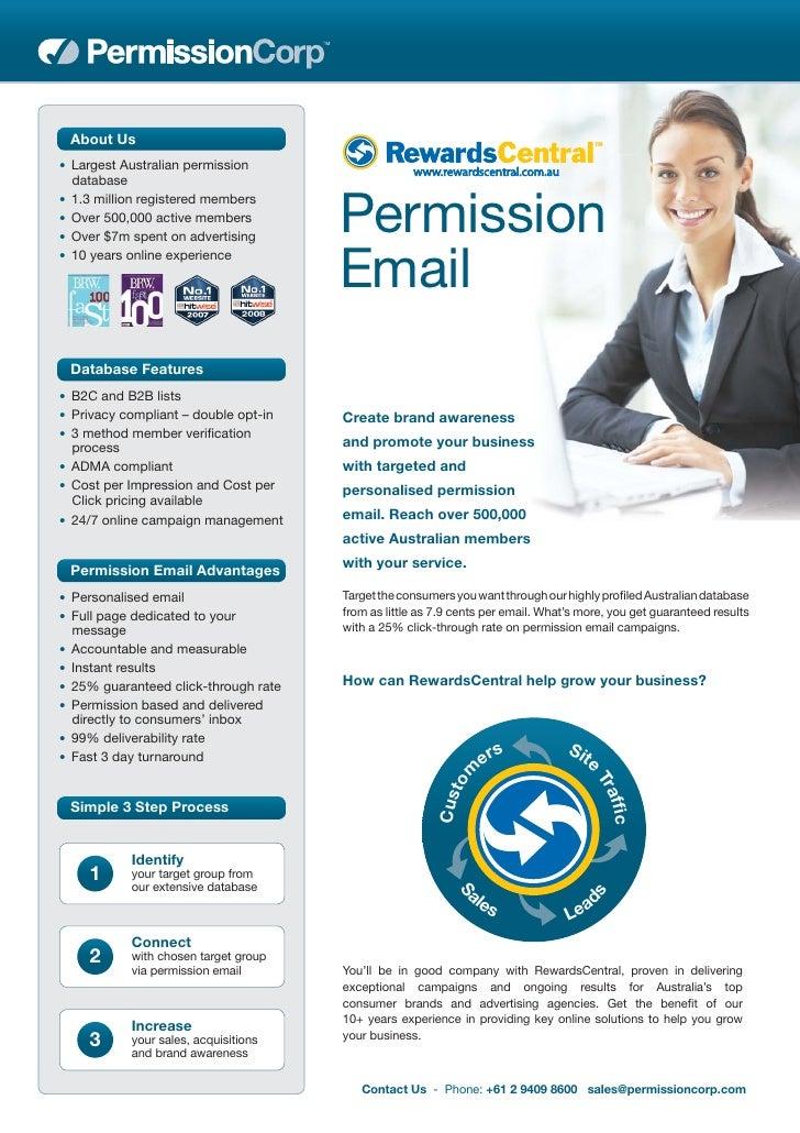 About Us • Largest Australian permission   database                                           Permission • 1.3 million reg...